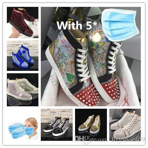 2020 Luxus Männer Frauen Rot grundiert Schuhe Designer Freizeitschuh mit Nieten Spikes Veloursleder-Partei-Hochzeit rote untere sneaker mit Kasten 35-47 a4