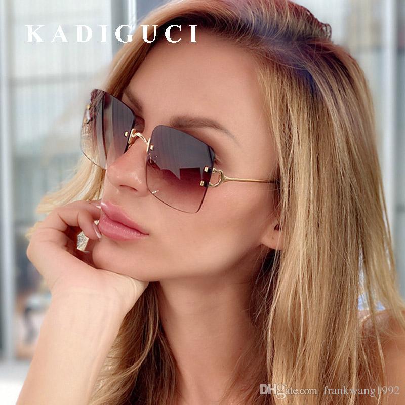 KADIGUCI New Purple Rivet Rimless Lunettes de soleil Gradient Shades Big Cadre Femmes Hommes Lunettes de soleil Fashion Marque Designer Chic Lunettes UV400 K395