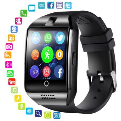 100PCS Q18 SmartWatch Bluetooth Phone Watch para Android Phone Fitbit inteligente Pulseiras de fitness rastreador caixa pulseira Apoio TF retial