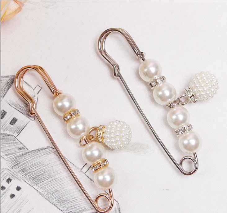 Giacca Donne Spilla perla dell'annata di Pin selvaggio cardigan sciarpa collare fibbia fissa Abbigliamento AccessoriesGift per Lover