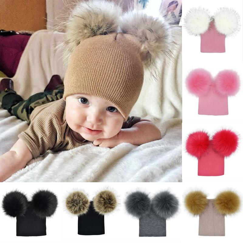 Kids Baby Child Winter Knitted Beanie Fur Pom Hat Crochet Ski Cap 0-5Years