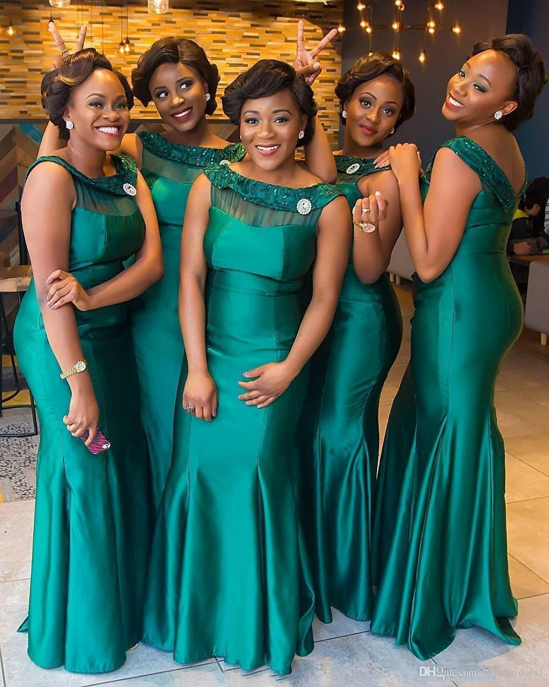 2019 New South African Hunter Green Mermaid Bridesmaid Dresses Arabic Black Girls Mermaid Scoop Neckline Plus Size Maid of Honor Gowns