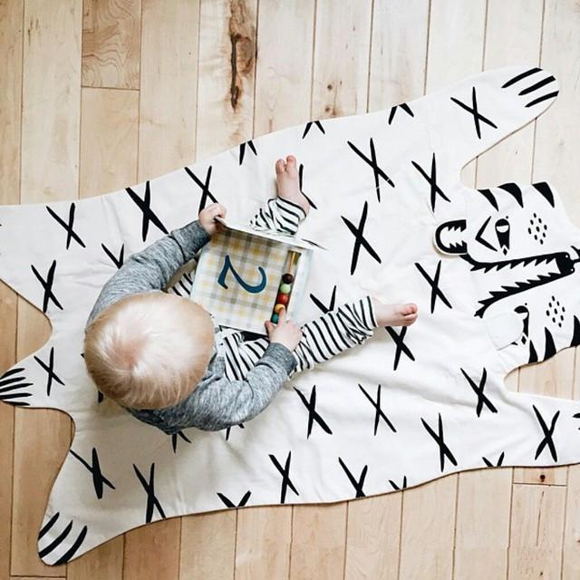 INS 패션 베이비 키즈 아이 게임 매트 가보 베어 담요 타이거 동물 카펫 담요, 따뜻한 플레이 매트 100 %면 선물
