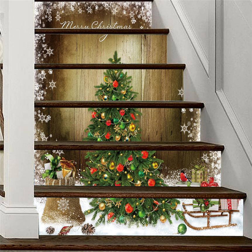 6pcs/set Sticker 3D Simulation Festival Style Tile Wall Stickers DIY Christmas Decoration For Home Stair Decor 1205# Y200103 s