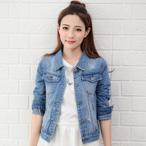 2018 Fashion Jeans Jacket Women Spring 2XL XL Autumn Hand Brush Long Sleeve Stretch Short Denim Jacket White Pink Coats T5190612