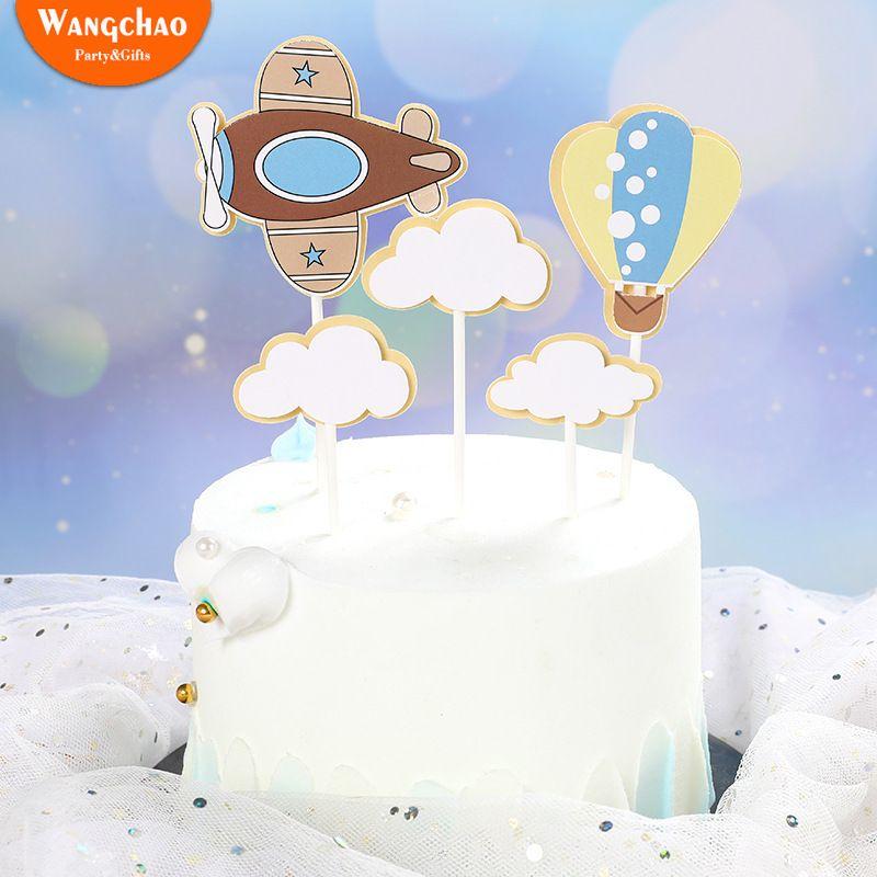 1 Set Clouds Fire Balloon Aircraft Theme Children's Birthday Cake Topper Cartoon Design Child Boy Party Supplies Cake Decoration