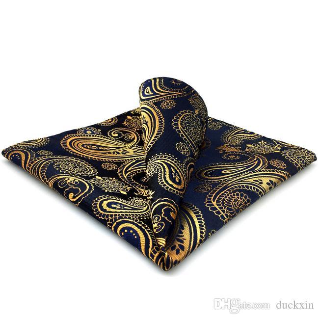 UH10 Paisley Siyah Altın Pocket Kare Mens Kravatlar İpek Jakar Dokuma Hankins Suit Hediye