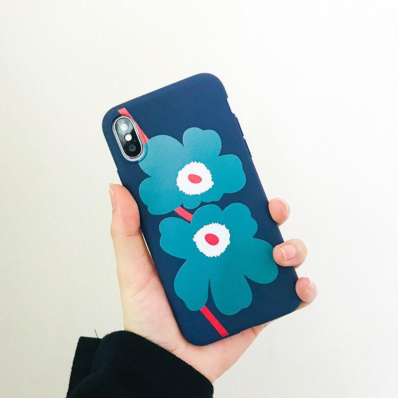 Housse de protection pour téléphone portable iPhone 4 XS Max XR 7 7plus 6S 8 Plus X fleur mate