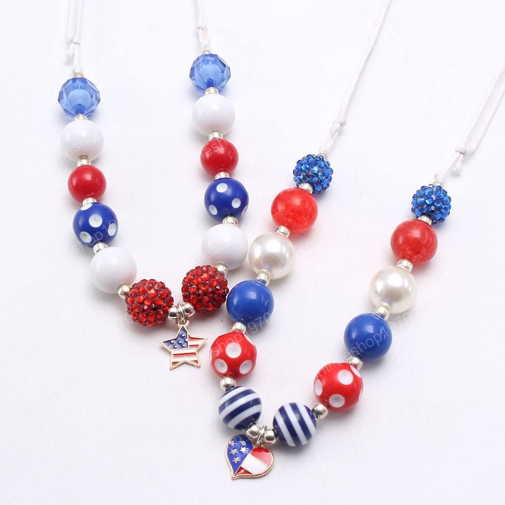 4ème Juillet Enfants Mode Bébé Etats-Unis Drapeau Style de coeur / étoile collier pendentif bricolage Chunky Bubblegum collier de perles Ajuster la corde