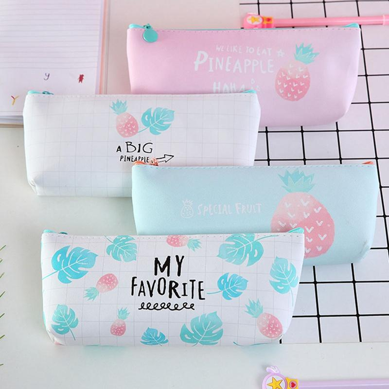 Cute Fruit Pencil Case For Girls PU Leather Pencil Bag Pen Box Stationery Pouch Gift School Supplies