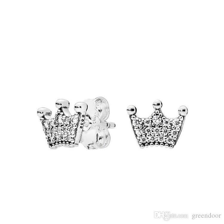 الأقراط تاج سحرية لباندورا الفضة والمجوهرات 925 الفضة الاسترليني خرافية أميرة تاج شخصية بسيطة الاسترليني الأقراط أنثى