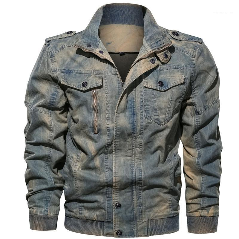 Designer Jackets Denim Washed Casual Cool Pockets Zipper Long Sleeve Stand Collar Jackets Fashion Mens Coats Street Style Mens
