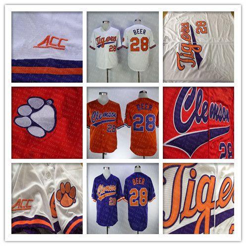 Clemson Tigers Faculdade Basebol Jerseys Seth Cerveja 28 Casa Estrada Fora Laranja Branco 100% Costurado Logos Camisas Boa Quanlity