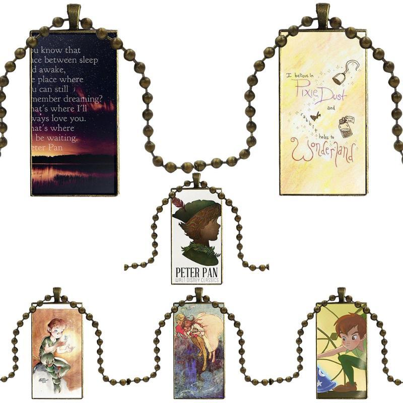Peter Pan And Alice Brand Steel Color Jewelry Fashion Statement Necklace Glass Necklaces Pendants For Wedding