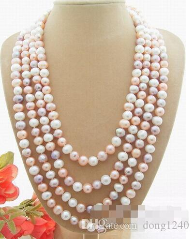 48/5000 Collier de perles naturelles rose et violet de 10 mm