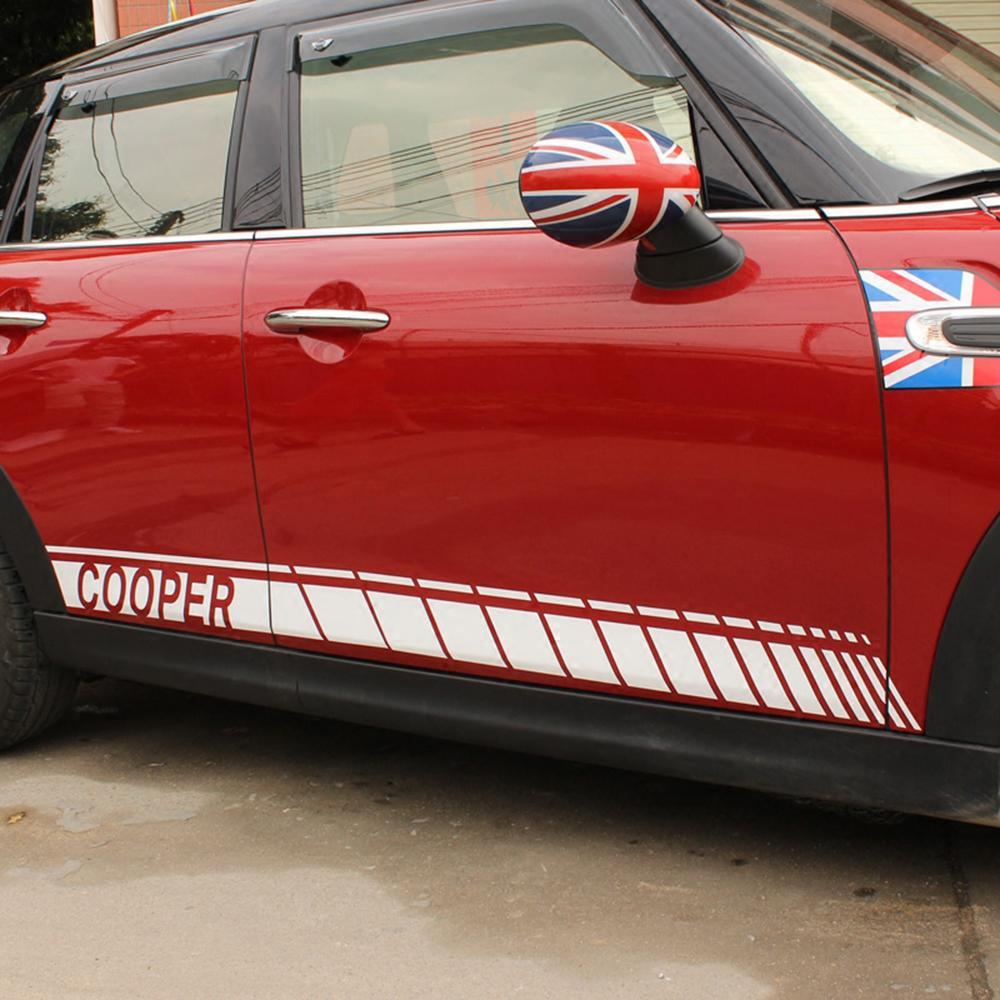 Auto Gonna laterale Lettera Porta della vita del corpo della decalcomania della Mini Cooper S JCW Clubman One D F54 F55 F56 R60 Countryman Accessori
