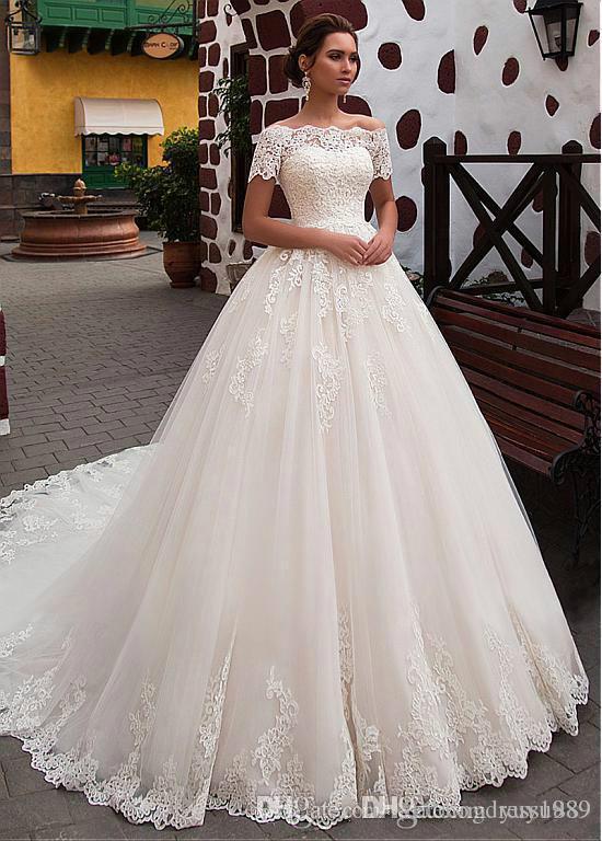 Cuello vestido de encaje de tul vestidos de 2020 Applique hueco tren de barrido novia de la boda Vestidos de boda