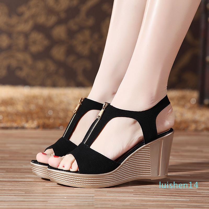 Frauen Sandalen Keil-Sandelholz-Plattform Zip-Sommer-Frauen-Schuh-Schwarz Peep Toe Damen Sandalen 2019 Frauen Schuhe Große Größe 43 l14