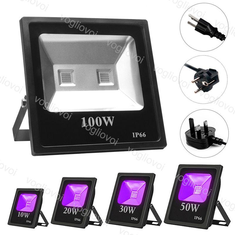 الاضواء الكاشفة UV 10W 20W 30W 50W 100W مقاوم للماء الأسود حزب ضوء النيون الإضاءة COB الأشعة فوق البنفسجية LED ضوء الفيضانات على المرحلة معدات DHL