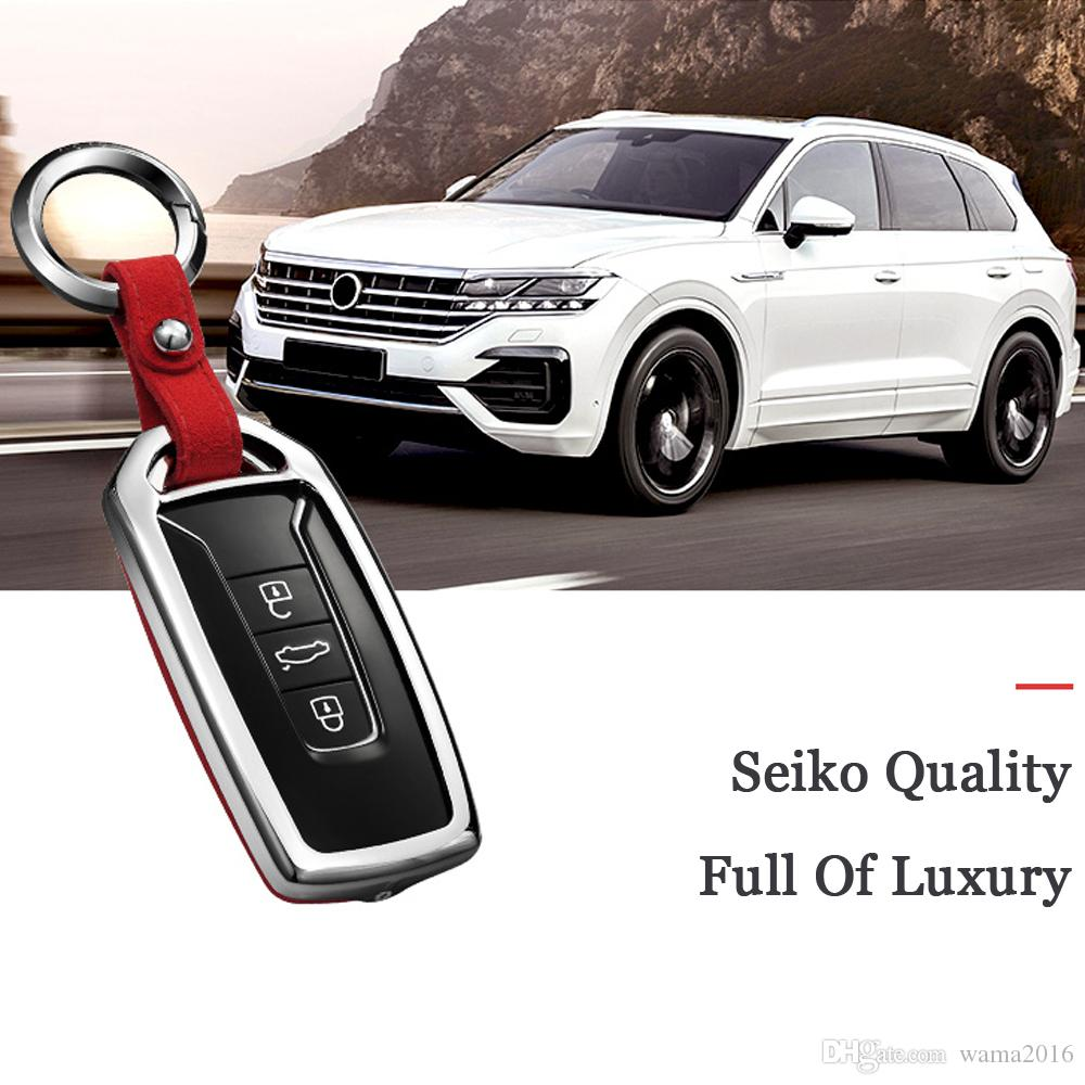 Car Keychain Key Bag Key Fob Cover Keyring for volkswagen vw touareg 2018 2019