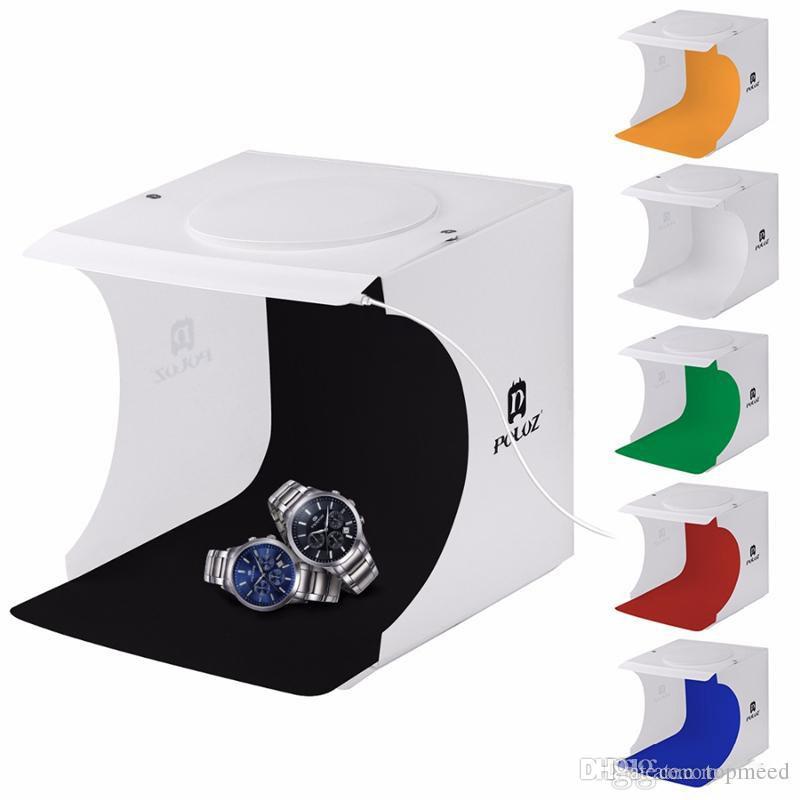 Puluz 20 * 20 سنتيمتر 8 مصغرة للطي ستوديو منتشر لينة مربع مفضلتي مع الصمام الخفيفة أسود أبيض التصوير خلفية الصور ستوديو مربع