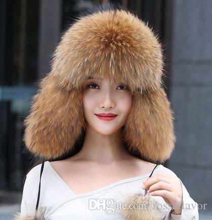 Real Women Fox Fur Hat With earflap Warm Winter Ladies Thick Real Raccoon Fur Hats New Hot sale Russia Geunine Fox Fur Cap Free Shipping