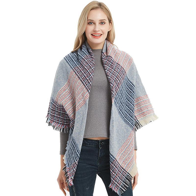 Оптово Осенью и зимой новые нити увеличены двухсторонний плед щетиной квадратный полотенце дизайнер шарф леди роскошный подарок шарф