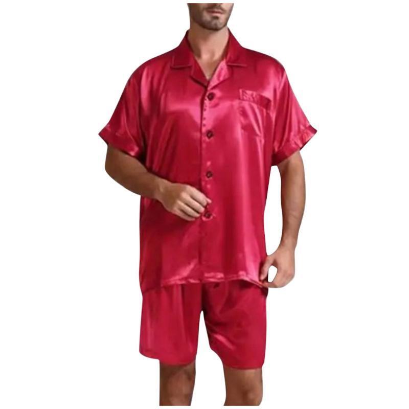 Conjuntos de los hombres del ocio cómodo color Inicio desgaste sólido de los hombres de la personalidad pijamas juego de la manera Nueva tendencia Servicio de Moda