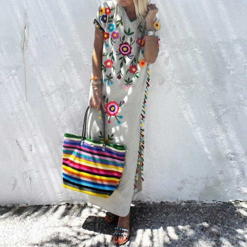 приграничные модели взрыва горячей продажи европейских и американских женщин богемный цвета длинная юбка бахромой печатное платье с обеих сторон