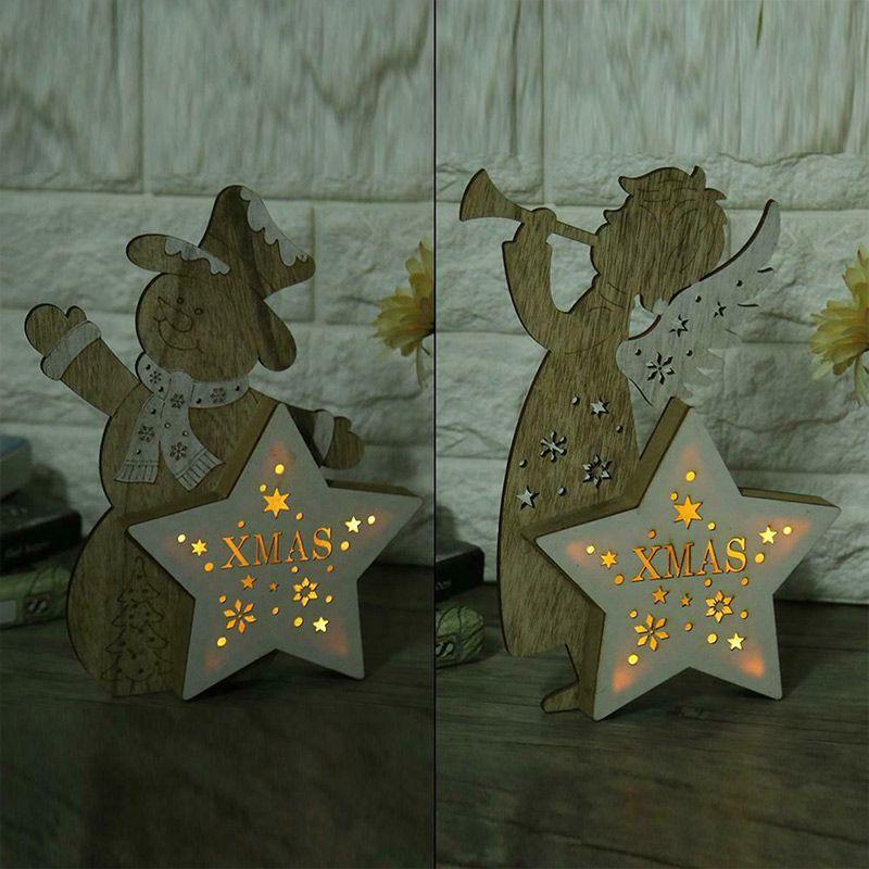 Weihnachtsschnee-Mann / Angel / Elk-Dekor-Flitter-LED-Licht leuchtende Weihnachtsbaum Ornamente HUG-Angebote