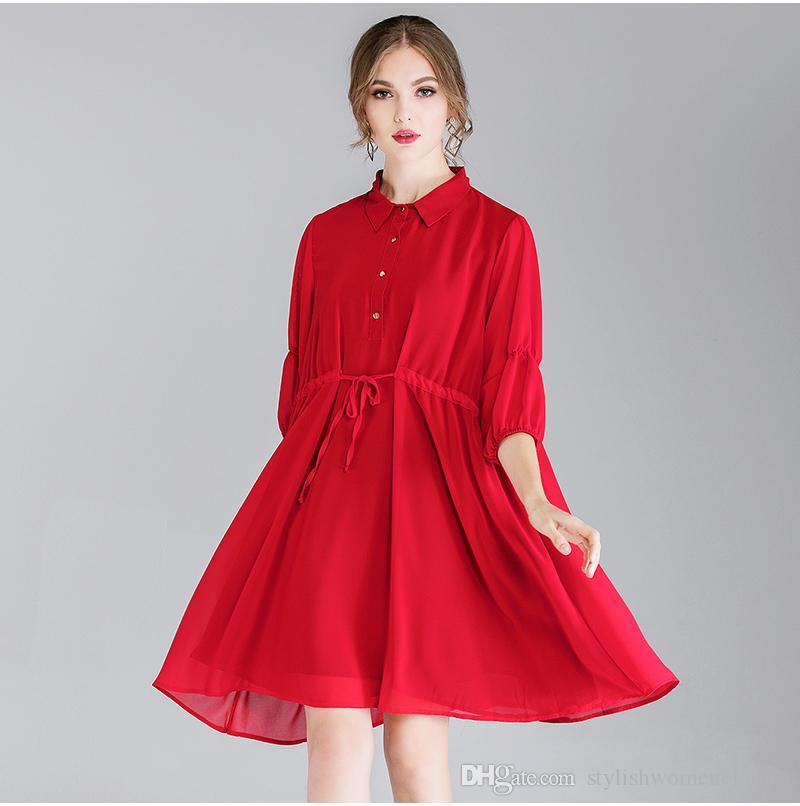 200 pounds fat mm large size women's 2019 autumn new light mature fashion loose lace chiffon dress F247