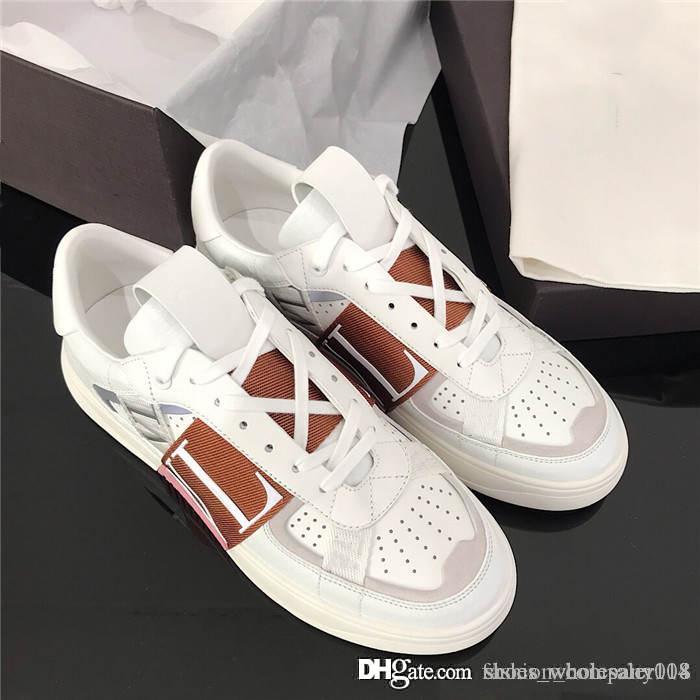SS 2020 Herren und Damen Kalbsleder VL7N Sneaker mit Bändern, Flach Sneakers mit Nieten Maxi-Kalbsleder Turnschuhe mit original Box 35-44