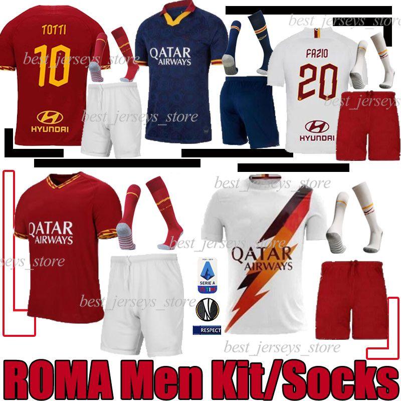 2019 2020 AS 로마의 축구 세트 키트 (19) (20) 제코 토티 로마 Camisetas 축구 셔츠 키트 데 로시 PEROTTI ZANIOLO 유니폼 양말 S-2XL