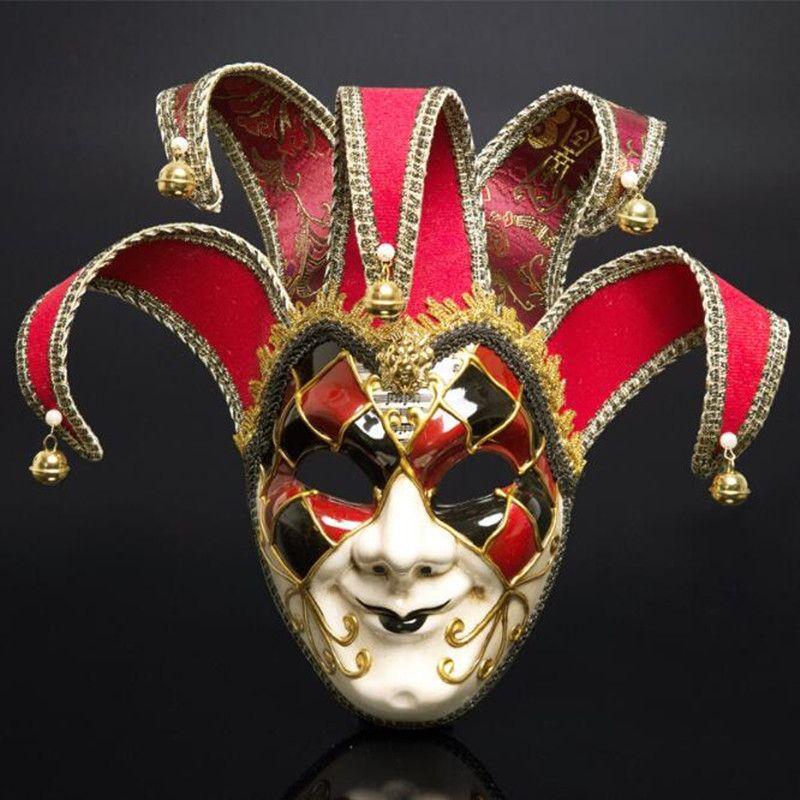 Full Face Men Venetian Theatre Jester Mascherata mascherata con campane Mardi Gras Party Ball Halloween Cosplay Maschera Costume