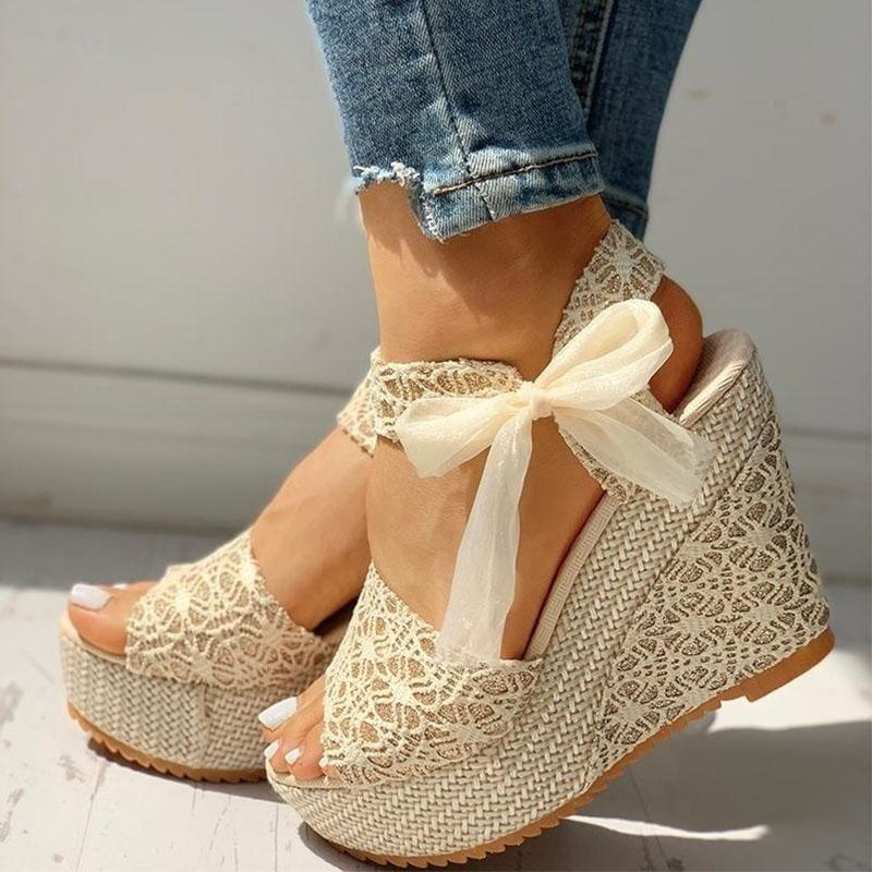 Sandales d'été Dropshipping femmes lacent Peep Toe Wedges Plate-forme dames élégantes Casual femme avec boucle cheville Chaussures Pompes Femme