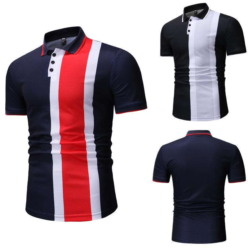 Para hombre de la solapa del cuello de polo del diseñador camiseta de verano Slim Fit Polos remiendo Homme Ropa Casual