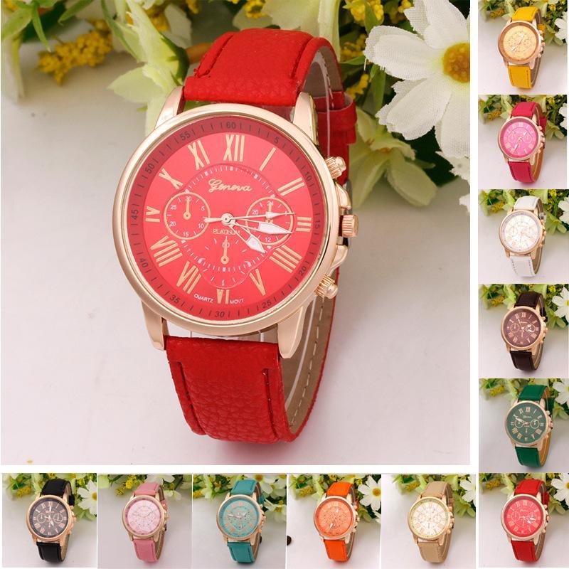Luxury Geneva Watch Unisex PU Leather Band Quartz Watches For Men Women Dress Wristwatches Roman Numerals Analog Wrist Watch Bracelet Hot
