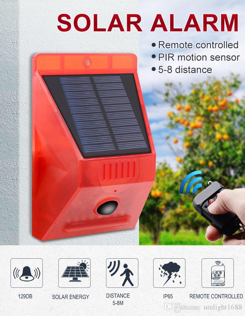 Umlight1688 Solar-Blitzleuchte mit Bewegungsmelder Solar-Alarm Licht mit Fernsteuer 129dB Ton Sicherheit Sirene Licht IP65 Waterproo