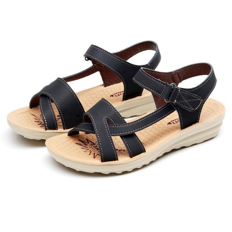 Women Sandals Fashion High Quality Sandals Ladies Summer 2020 Fashion Leather Wedges Comfort Big Size Women Beach Shoes
