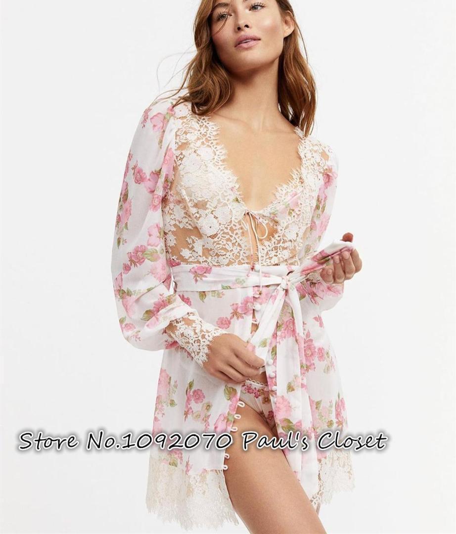 Mulheres de femme floral impressão laço scalloped Melrose guarnição robe sexy mini vestido