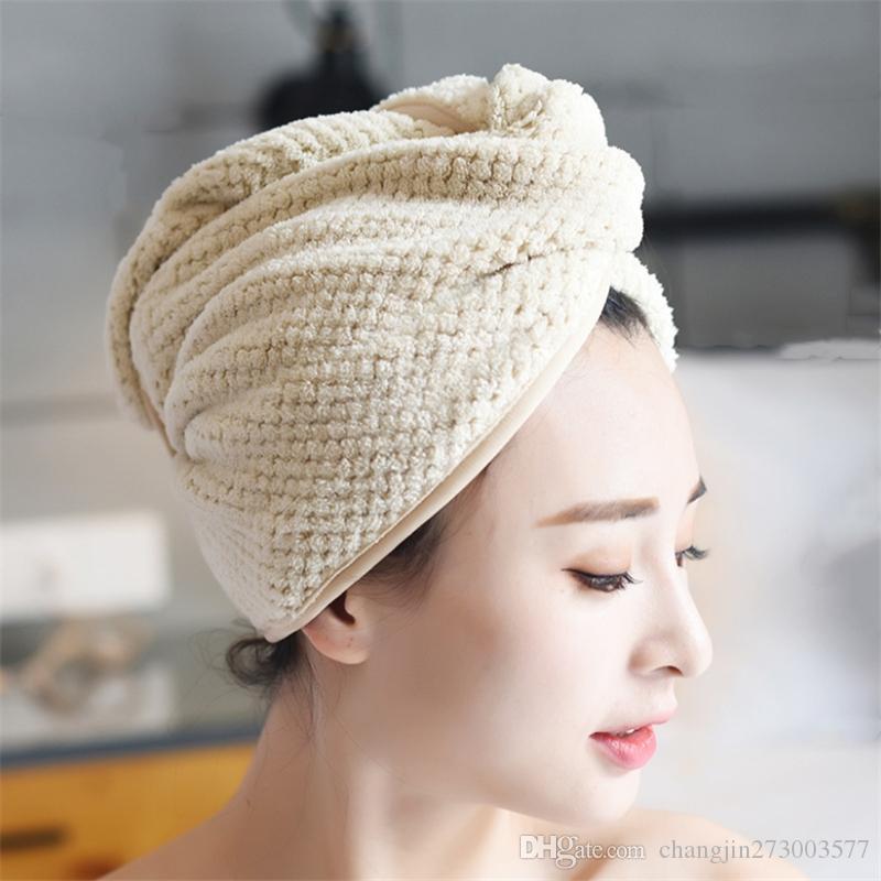 Fábrica casquillo del pelo coral fleece seco directa suave absorbente ducha adulto casquillo seco toalla pelo al por mayor LOGO personalizable
