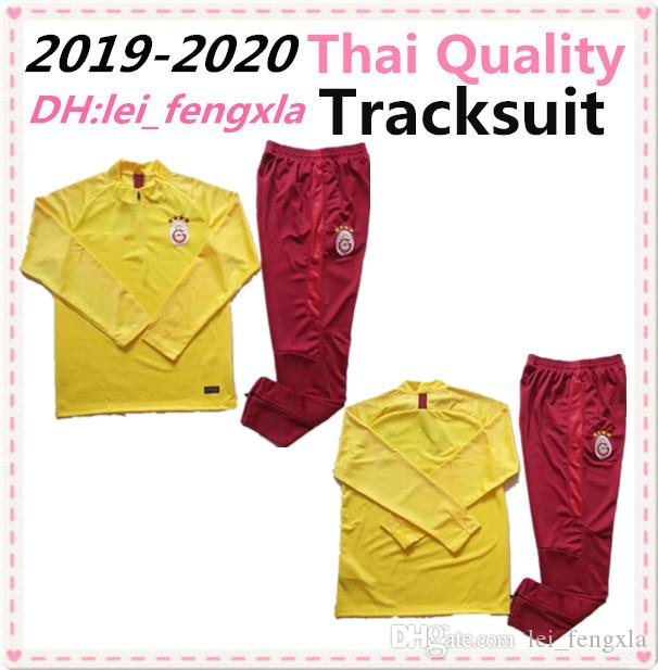 Galatasaray 2019 2020 Survêtement de football Set Kit Survêtement jaune football Veste Survetement Chandal 19 20 Garçons Football Costumes Formation