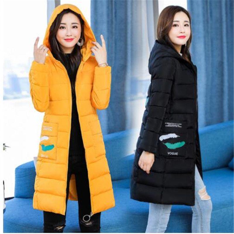 2019 automne et hiver nouveau bas coton pad femmes longue section Slim veste à capuchon de mode chaud et froid