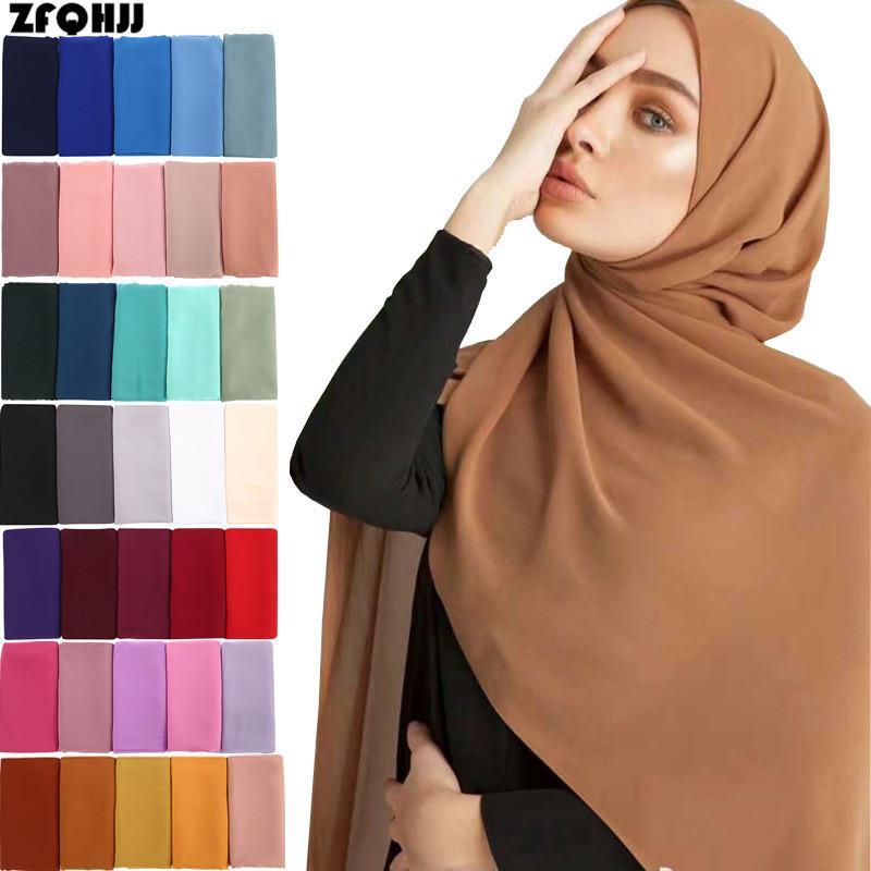 Zfqhjj مسلم سيدة عادي لون نقي فقاعة الشيفون الحجاب وشاح طويل كبير شال غطاء الرأس الأغطية الأزياء كل مباراة الحجاب والأوشحة C19011001