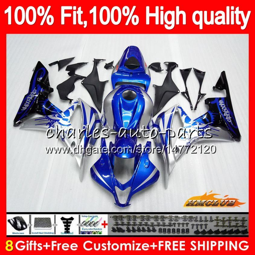 Injectielichaam Voor Honda CBR600F5 CBR600RR CBR 600F5 67HC.2 CBR600 CBR 600 RR CC 600RR 600CC F5 Blue Silvery Hot 2007 2008 07 08 OEM FACKING