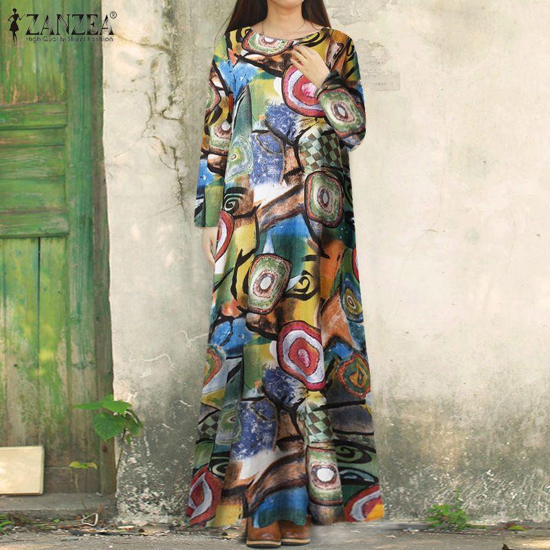 ZANZEA Bohemian Long Sleeve Floral Impresso Vestido de Verão Mulheres Maxi longo Dresss Primavera Vestido Femme túnica solta Kaftan Dress7 Vintage
