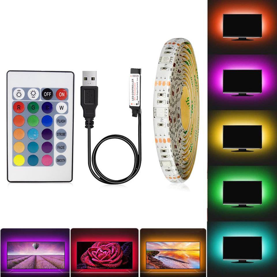 LED Şerit RGB Su Geçirmez USB 5 V Şerit LED Şerit RGB / Beyaz / Sıcak Beyaz TV Arka Işık 1 M 2 M 3 M 4 M 5 M SMD3528 Esnek LED Şerit Işıkları