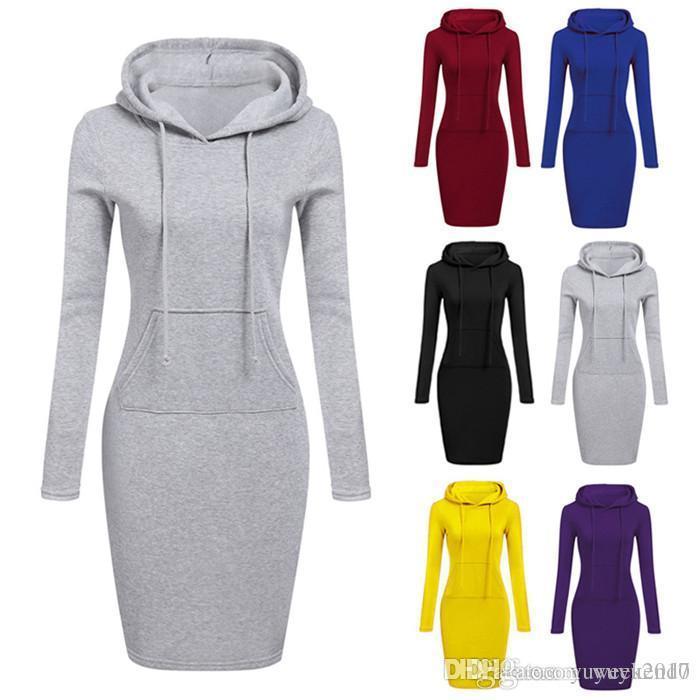 10 컬러 S-XXL 가을 겨울 따뜻한 운동복 긴 소매 드레스 여성 의류 후드 칼라 포켓 디자인 간단한 드레스 56188447077722