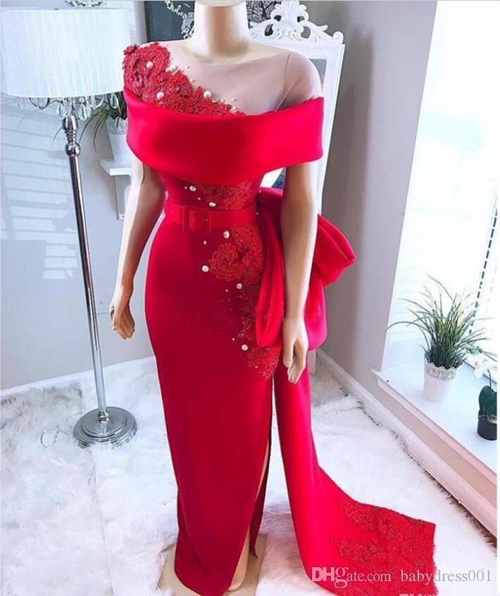Arabia Saudita Árabe Vestidos de baile rojos con cuello transparente Arco tren Perlas de abalorios Sirena Vestidos de noche Satén Lado dividido Vestido de fiesta formal africano