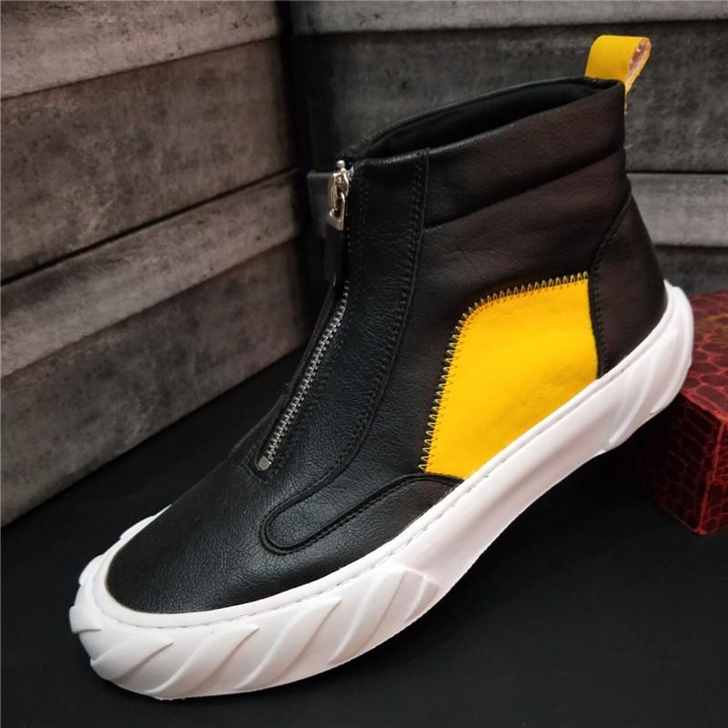 alto aiuto piccole scarpe bianche da uomo di alta qualità, coreano burlone di giovani scarpe di bordo, bianco scarpe casual nero, stivali B39